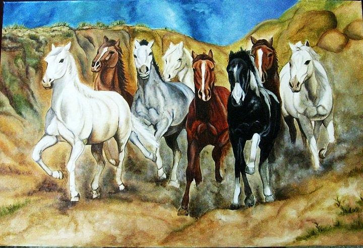 Pictures Of 7 Running Horses In Feng Shui Kidskunstinfo