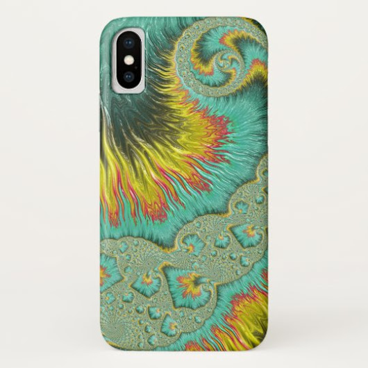 Fiery Rainbow Colored Spirals Fractal Art iPhone XS Case