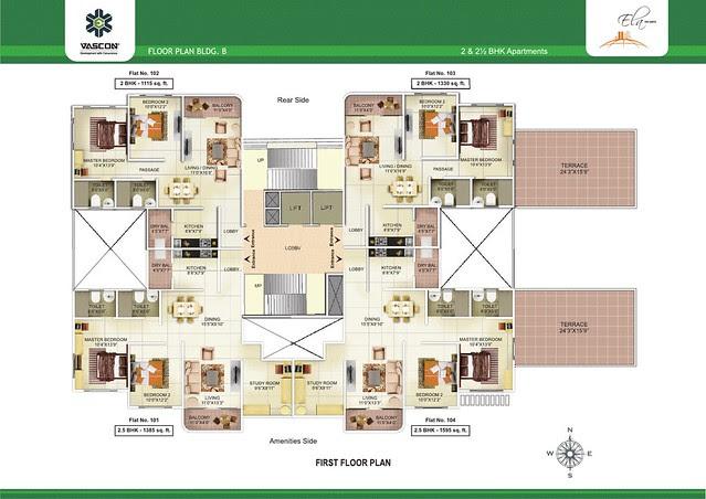 1st Floor Plan of Vascon Ela - 2 BHK 2.5 BHK Flats opposite Suzlon One Earth at Sade-Satara-Nali (Sade-Satra-Nali) Gram Panchayat, Hadapsar, Pune 411028