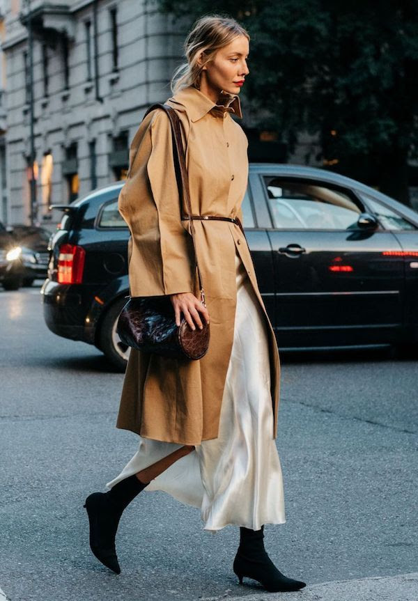 How To Wear Slip Dress For Spring Street Style Blonde Red Lipstick Belted Camel Trench Coat Embossed Bag Black Suede Sock Ankle Boots Via British Vogue Julie Pelipas