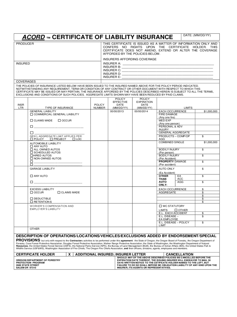 Certificate of Liability Insurance Form - 5 Free Templates ...