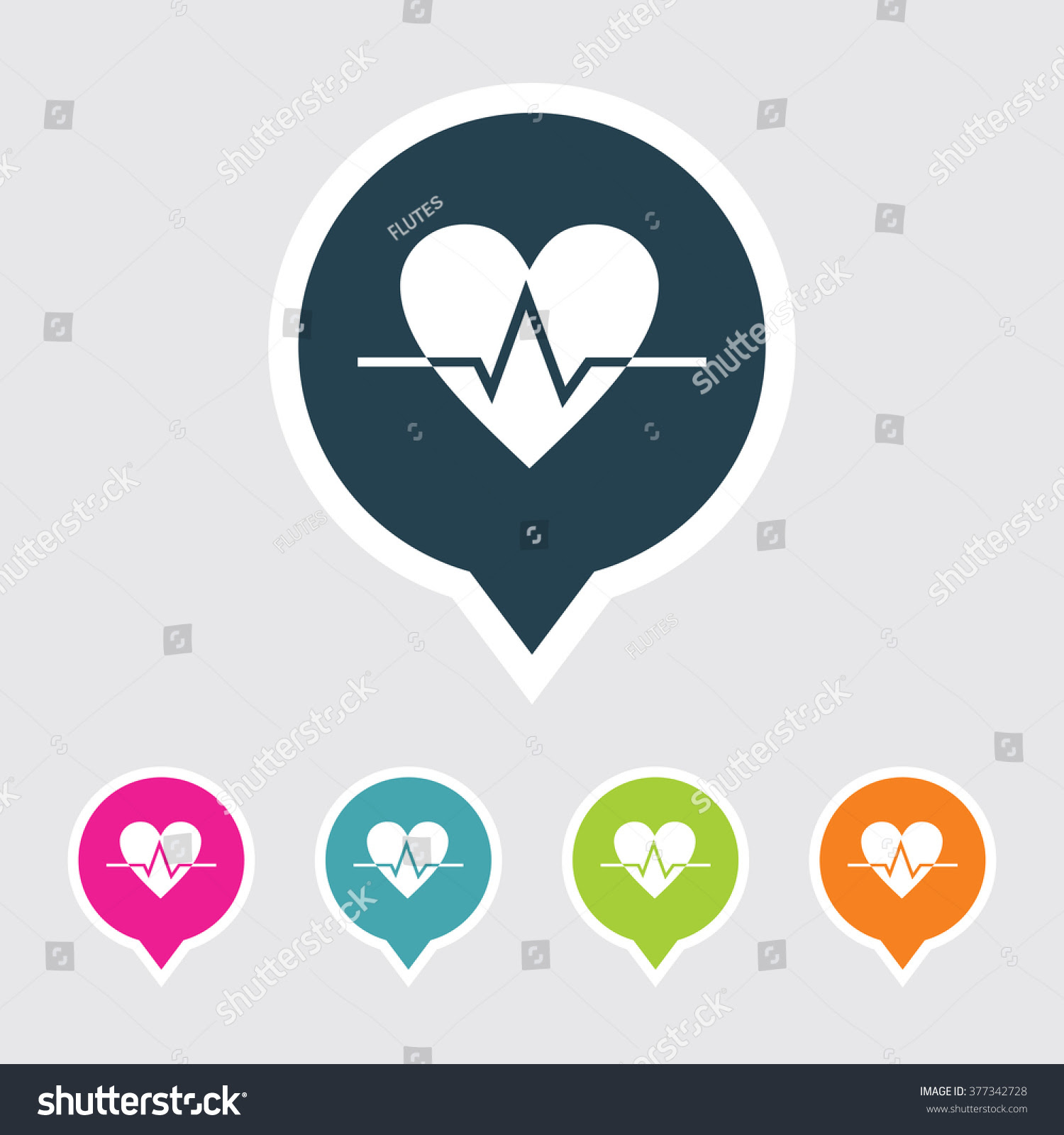 Very Useful Editable Heart Icon On Different Colored Pointer Shape ...