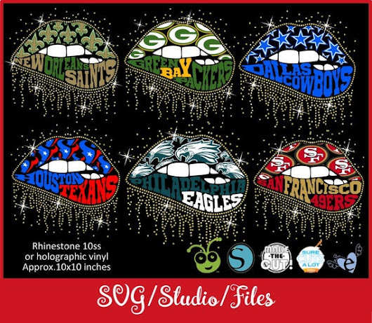 Lips NFL, SVG, Dallas Cowboys, Houston Texans, Green Bay Packers, New Orleans Saints, Philadelphia Eagles, San Francisco 49ers, Sparkling