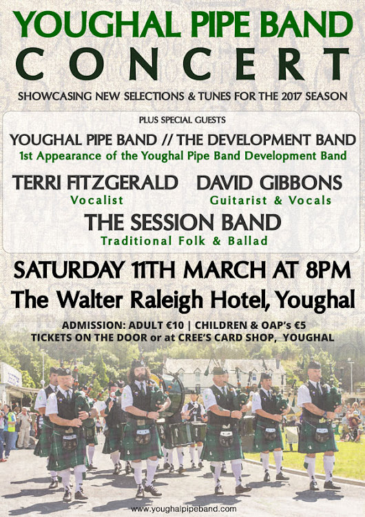 Youghal Pipe Band In Concert 11th March @ The Walter Raleigh Hotel, Youghal - Youghal Pipe Band