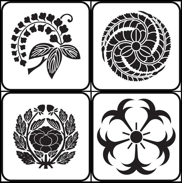 edafuji, hidarimitshufujitomoe, kawaridakibotan, ikarizakura (flower - kamon)