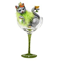 Hiccup by H2Z 9-1/4-Inch Meowgarita Cocktail Glass with Tall Grey Cat
