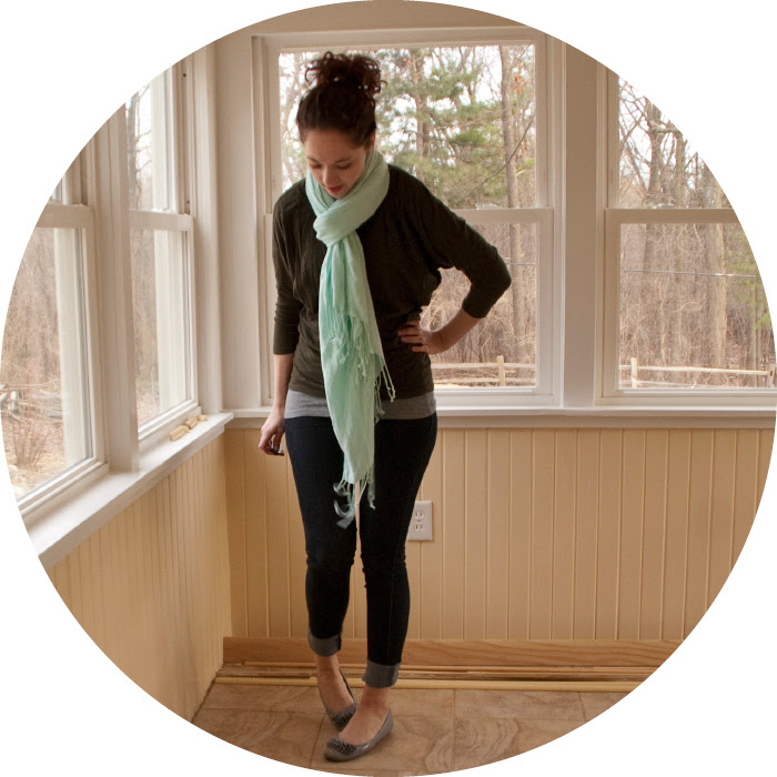 time out dash dot dotty style blog scarf green turquoise jeans cuffed oxfords brogues