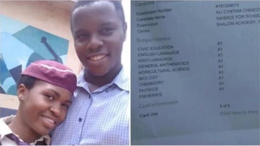 Meet Nigerian Female Student Who Made A1 In All Her WAEC Subjects (Photos)