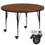 Flash Furniture XU-A48-RND-OAK-H-P-CAS-GG Mobile 48 in. Round Oak High Pressure Laminate Activity Table - Height Adjustable Short Legs