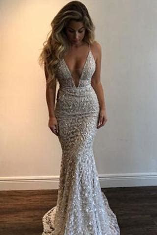 Gorgeous V Neck Spaghetti Straps Prom Dresses,Lace Evening
