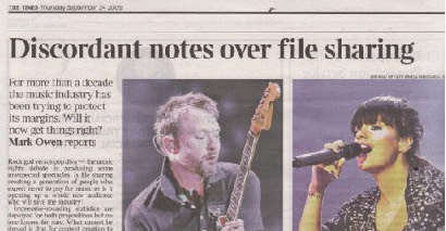 The Times, Thur 24 Sept 09 - Lily Allen and views on File Sharing