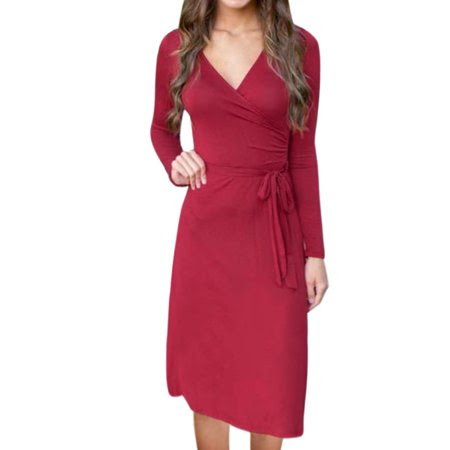 Allegra K Women's Waist String Midi Wrap Dress