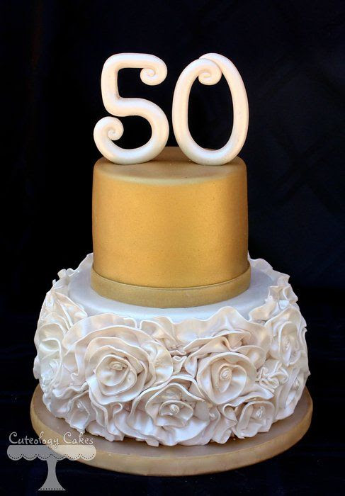 Ruffle roses for 50th Birthday cake by  CuteologyCakes on Cakes Decor.com