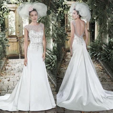 Elegant Beaded Wedding Dresses 2015 Sheer Crew Neck