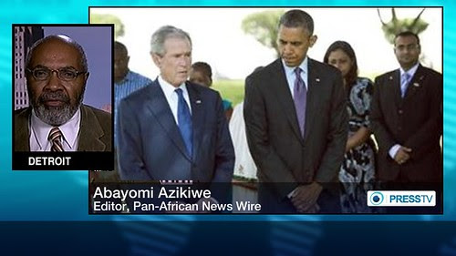 Abayomi Azikiwe, editor of the Pan-African News Wire, depicted in a Press TV graphic with US imperialist presidents standing together in Tanzania. by Pan-African News Wire File Photos
