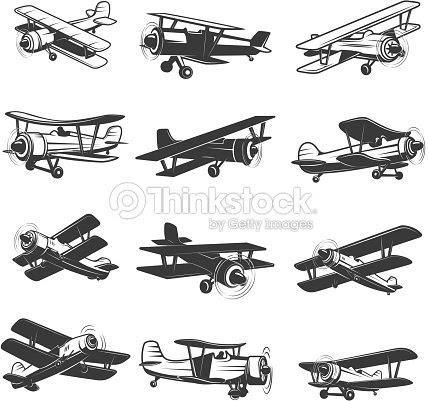 ヴィンテージ飛行機アイコンのセットです航空機のイラストラベル紋章記号