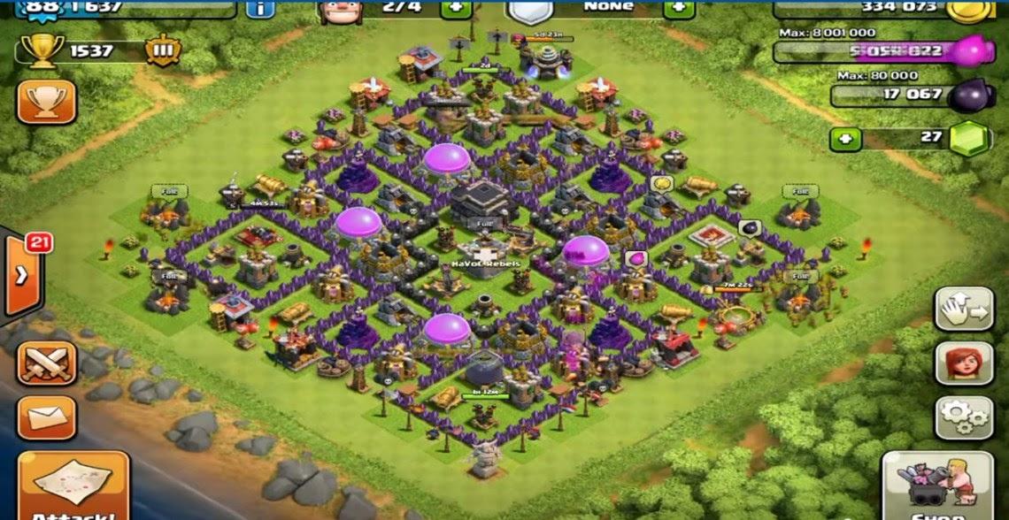 No 7 Clans Clash Best Hall Town Base Tesla Hidden 1