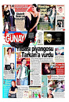 Tarkan appears on the front page of Günaydin