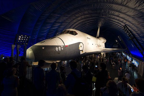 Enterprise is displayed inside the Space Shuttle Pavilion at the Intrepid Sea, Air & Space Museum in New York City, on July 19, 2012.