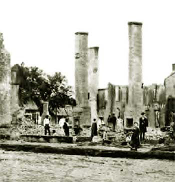 Baton Rouge- wreckage of private houses torn down by Colonel Halbert E. Paine