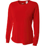 A4 Ladies' Long Sleeve Cooling Performance Crew Shirt - NW3002 - Scarlet