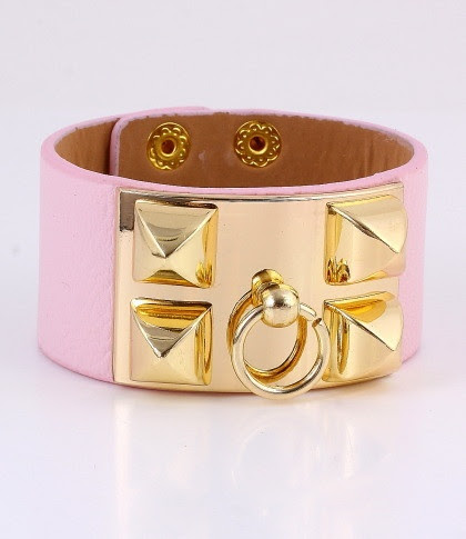 Pink Artificial Leather Bracelet $10.50