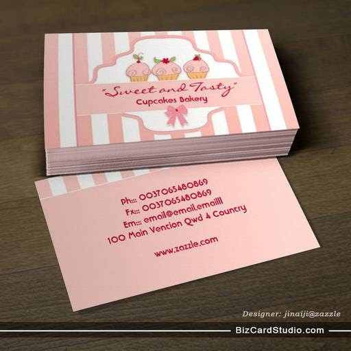 business card templates studio pink milky cupcake bakery business cards. Black Bedroom Furniture Sets. Home Design Ideas