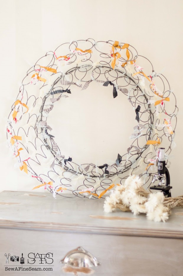 Spring wreath from bedsprings and vintage lace and ribbon