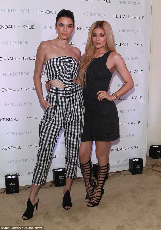 Self promotion: Kendall and Kylie Jenner held a luncheon in West Hollywood on Thursday for their label Kendall + Kylie