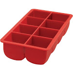 HIC Big Block Large Cubes Silicone Ice CubeTray - Red