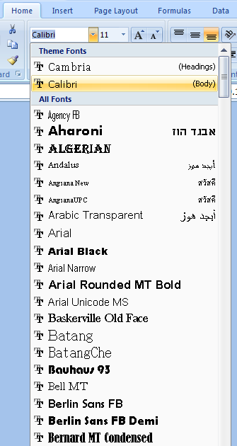 Excel: Format Text: Change fonts, size, format