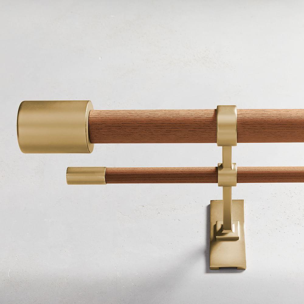 Mid-Century Wooden Double Curtain Rod - Wood/Brass | west ...