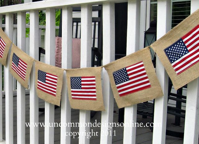 Burlap 4th of July Flag Banner ~ Uncommon Designs