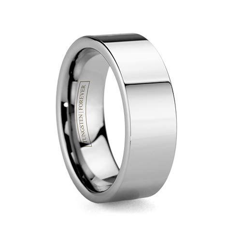 Mens Wide Flat Durable Tungsten Wedding Ring 8mm / 10mm