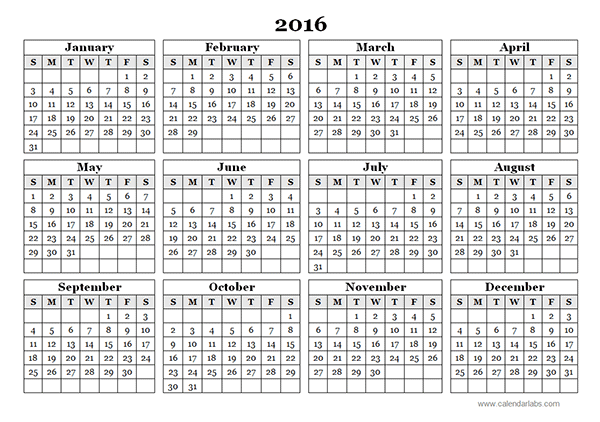 2016 Yearly Calendar Template 09 - Free Printable Templates