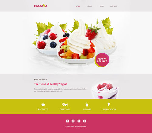 Ready - Frozen Yogurt Shop Web Template | Free Website Templates