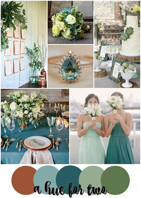 Rustic wedding colors, Copper and Teal on Pinterest