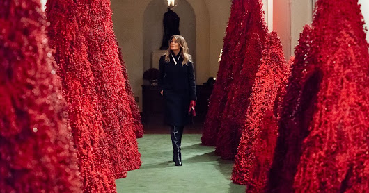 Melania's Red Christmas Trees Are Being Stripped of Berries