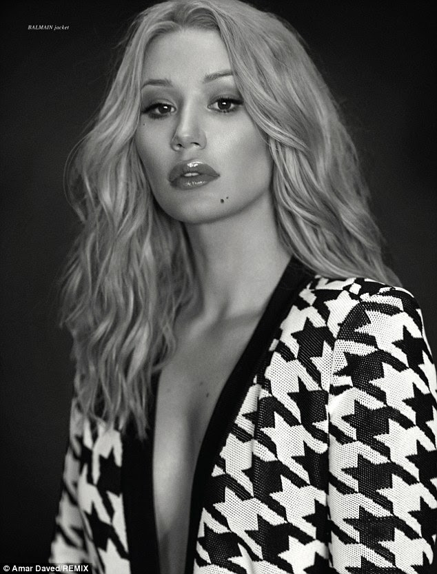 Eye-catching: The Fancy star's eyes sparkle in this soft image while wearing a houndstooth blazer by Balmain