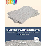 15 Count Glitter Fabric Sheets, 8 x 12 inches Single-Sided Shiny Metallic Silver Faux PU Leather for DIY Crafts and Arts, Sewing Projects, Decorations
