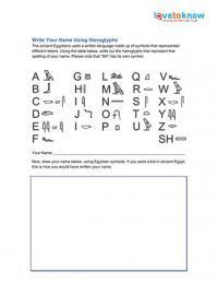 Hieroglyphics Worksheets