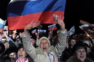 Pro-Russian Crimeans celebrate in Sevastopol on March…