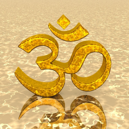3D - OM Sign On Golden Heart Stock Photo, Picture And Royalty Free