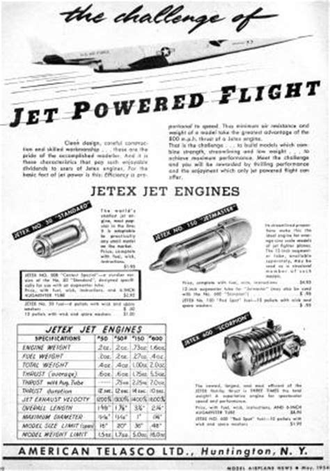 Jetex Jet Engine Ad, May 1954 Model Airplane News