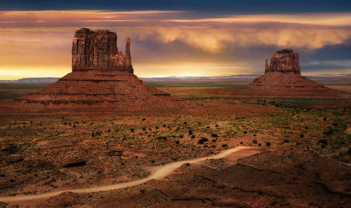 The East And West Mitten Buttes Of Monument Valley Arizon
