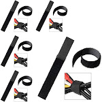 Insten 5 pcs set Reusable Fastening Cable Ties Hook and Loop Cable Straps Cable Management Wrap Wire Cord Organizer Black 0.78 x 5.9 Inch