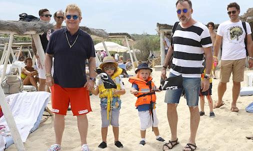 Elton John and David Furnish on family hols with  Zachary and Elijah