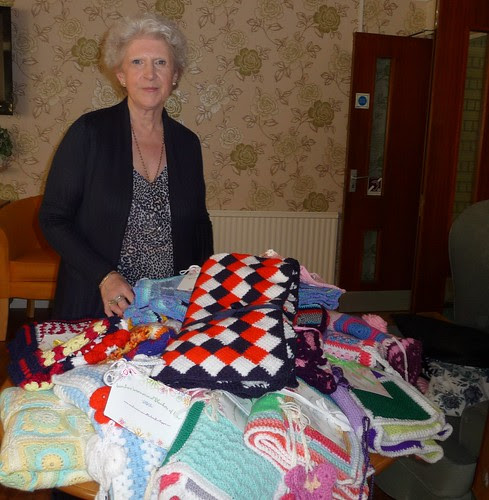 Here I am with our gorgeous 'Sunshine Blankets'.