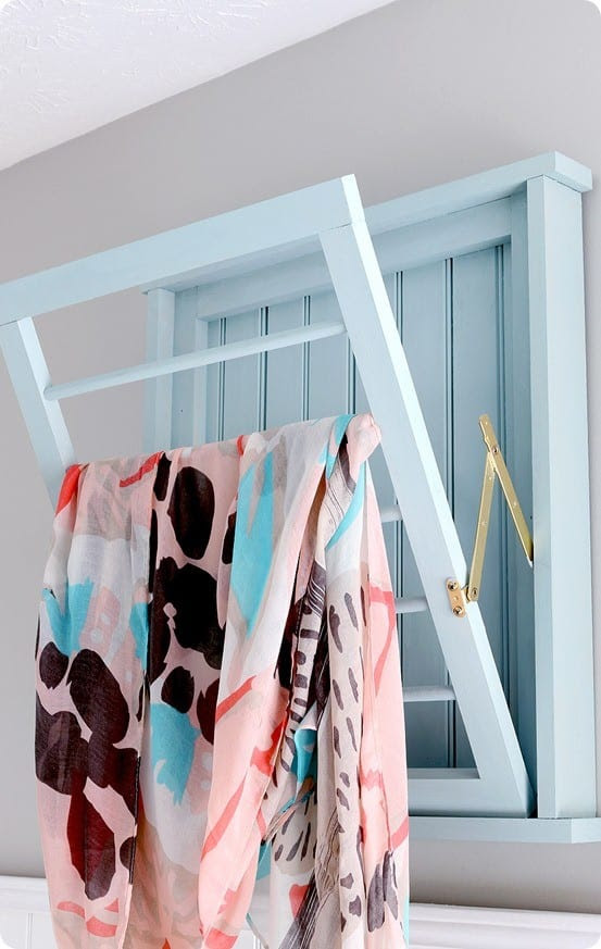 DIY Wood Projects ~ Build this Ballard Designs inspired laundry rack for $30 with these free woodworking plans!