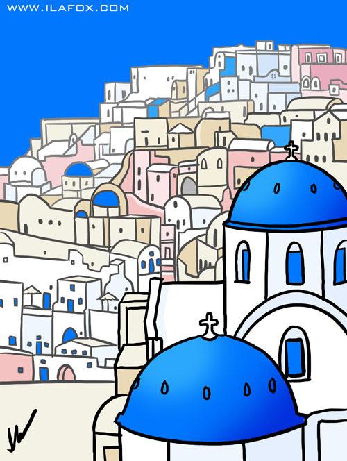 santorini, ilha grega, greek island, viagem Grécia, quadrinhos by ila fox
